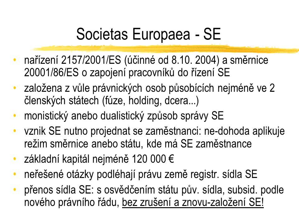 Evropské družstvo - SCE nařízení 1435/2003 účinné od 18.7.2006 nejméně 5 členských podílů bydlištěm v nejméně 2 členských státech souhrn členských vkladů nejméně 30 000 € jednotná úprava vzniku a zániku členství monistický anebo dualistický způsob správy SCE zásady účetnictví, auditu, řešení platební neschopnosti