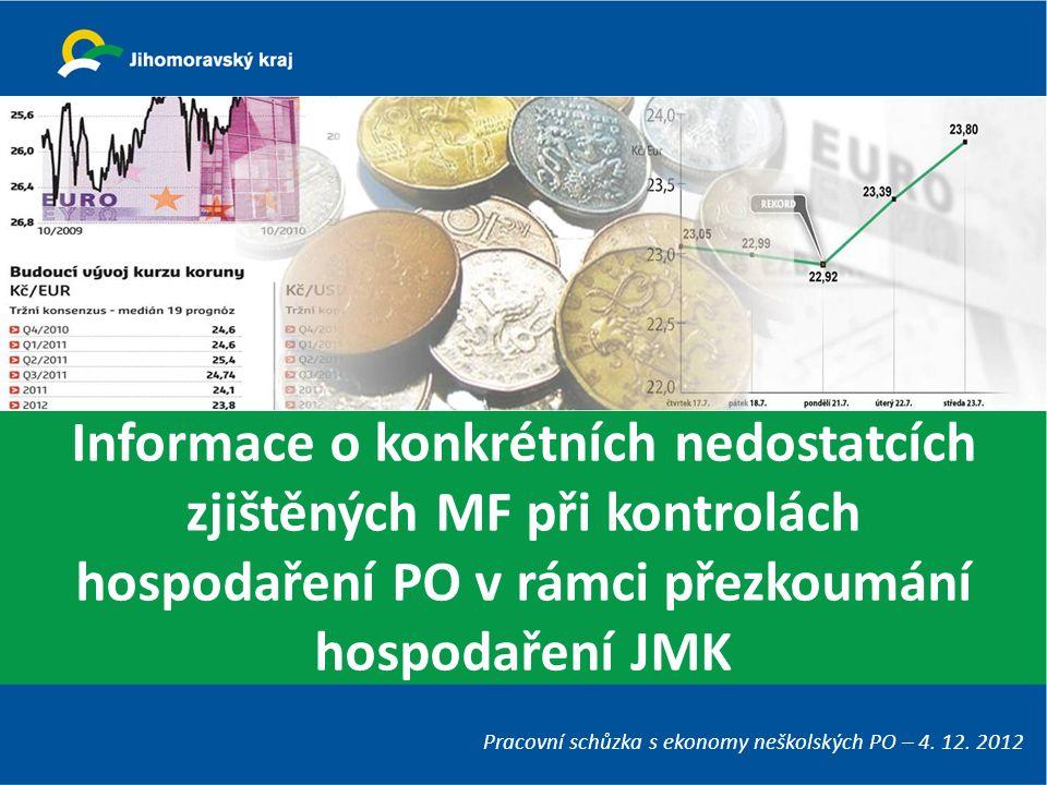 Informace o konkrétních nedostatcích zjištěných MF při kontrolách hospodaření PO v rámci přezkoumání hospodaření JMK Pracovní schůzka s ekonomy neškolských PO – 4.