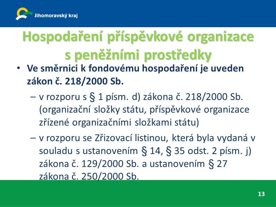 Hospodaření příspěvkové organizace s peněžními prostředky Ve směrnici k fondovému hospodaření je uveden zákon č.
