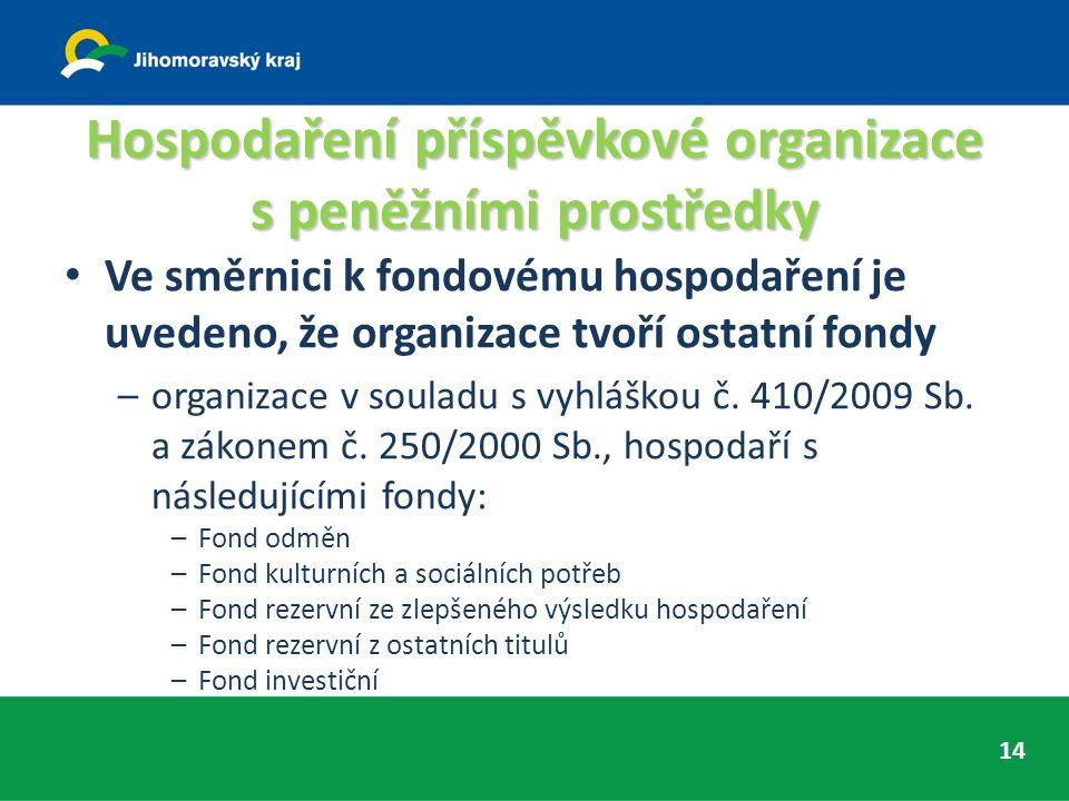 Hospodaření příspěvkové organizace s peněžními prostředky Ve směrnici k fondovému hospodaření je uvedeno, že organizace tvoří ostatní fondy –organizace v souladu s vyhláškou č.