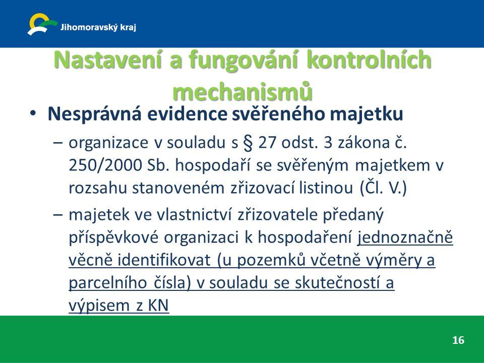 Nastavení a fungování kontrolních mechanismů 16 Nesprávná evidence svěřeného majetku –organizace v souladu s § 27 odst.