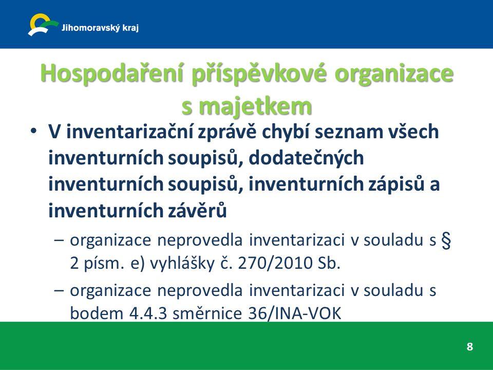 Hospodaření příspěvkové organizace s majetkem V inventarizační zprávě chybí seznam všech inventurních soupisů, dodatečných inventurních soupisů, inventurních zápisů a inventurních závěrů –organizace neprovedla inventarizaci v souladu s § 2 písm.