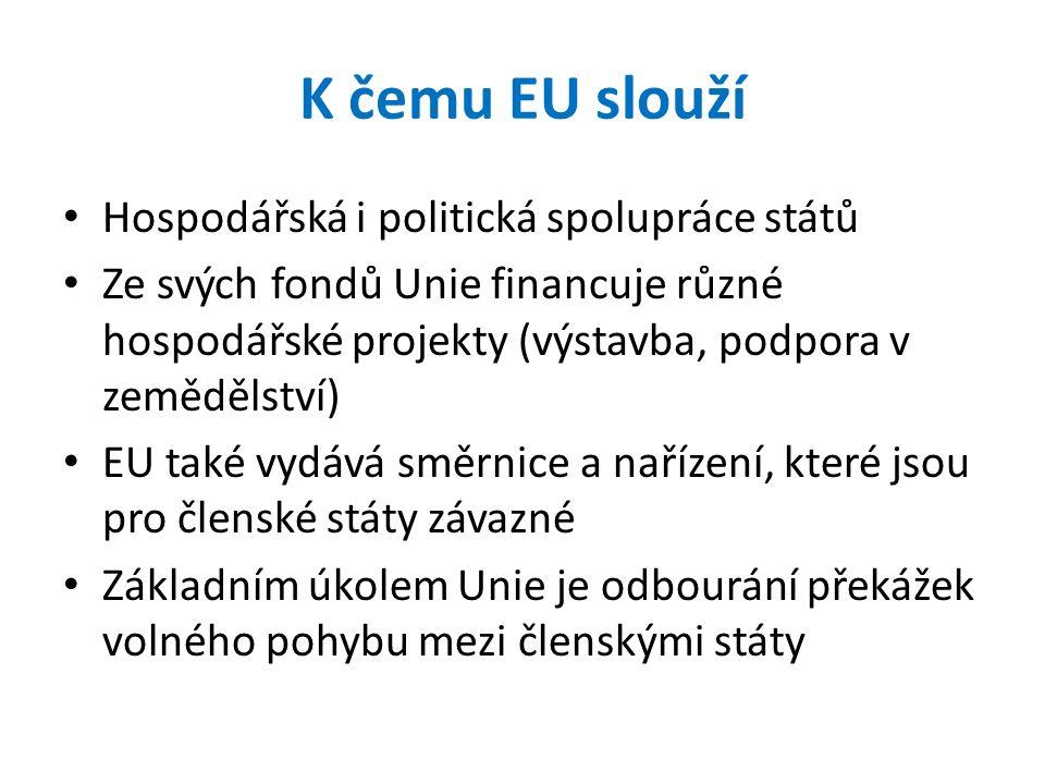 K čemu EU slouží Hospodářská i politická spolupráce států Ze svých fondů Unie financuje různé hospodářské projekty (výstavba, podpora v zemědělství) EU také vydává směrnice a nařízení, které jsou pro členské státy závazné Základním úkolem Unie je odbourání překážek volného pohybu mezi členskými státy