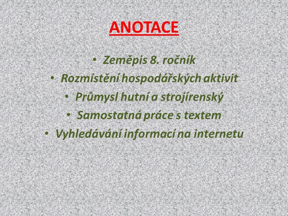ANOTACE Zeměpis 8.