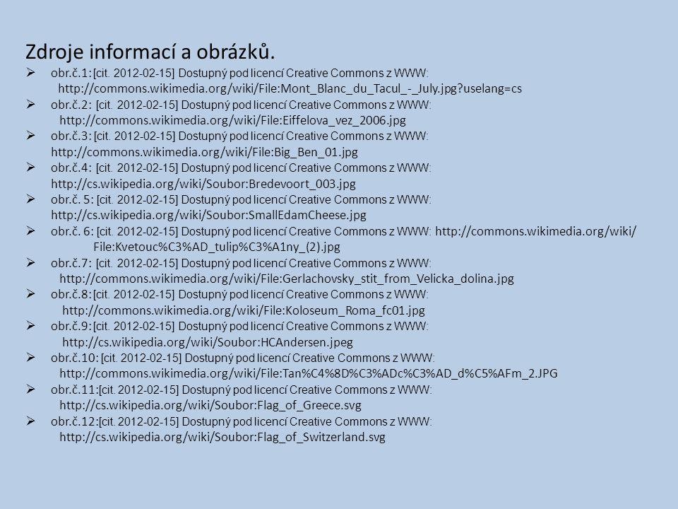 Zdroje informací a obrázků.  obr.č.1: [cit.