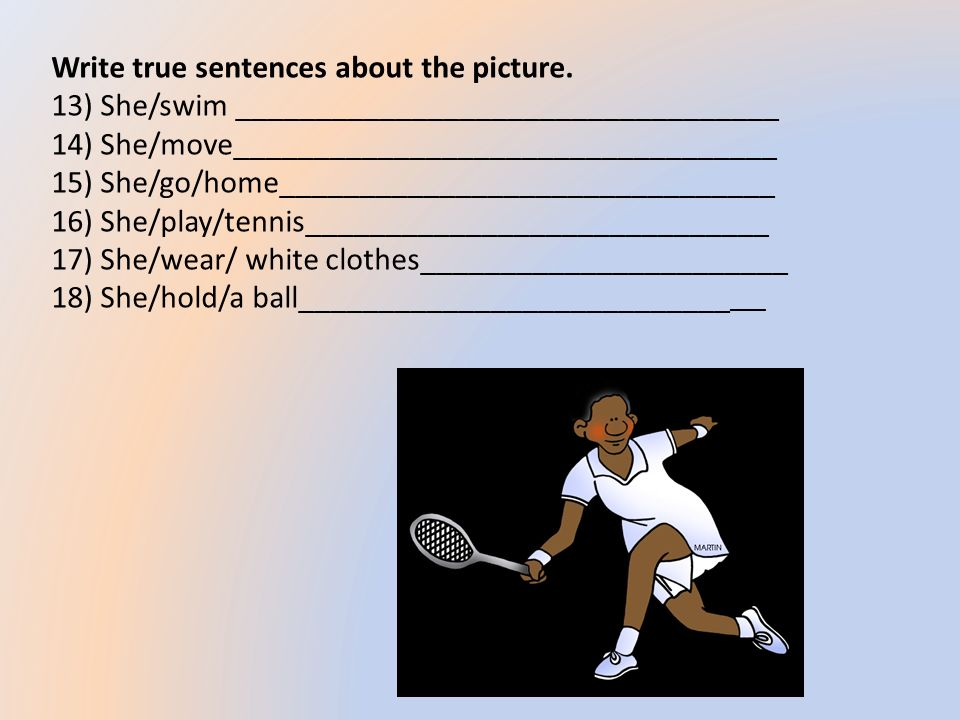 Write true sentences about the picture.