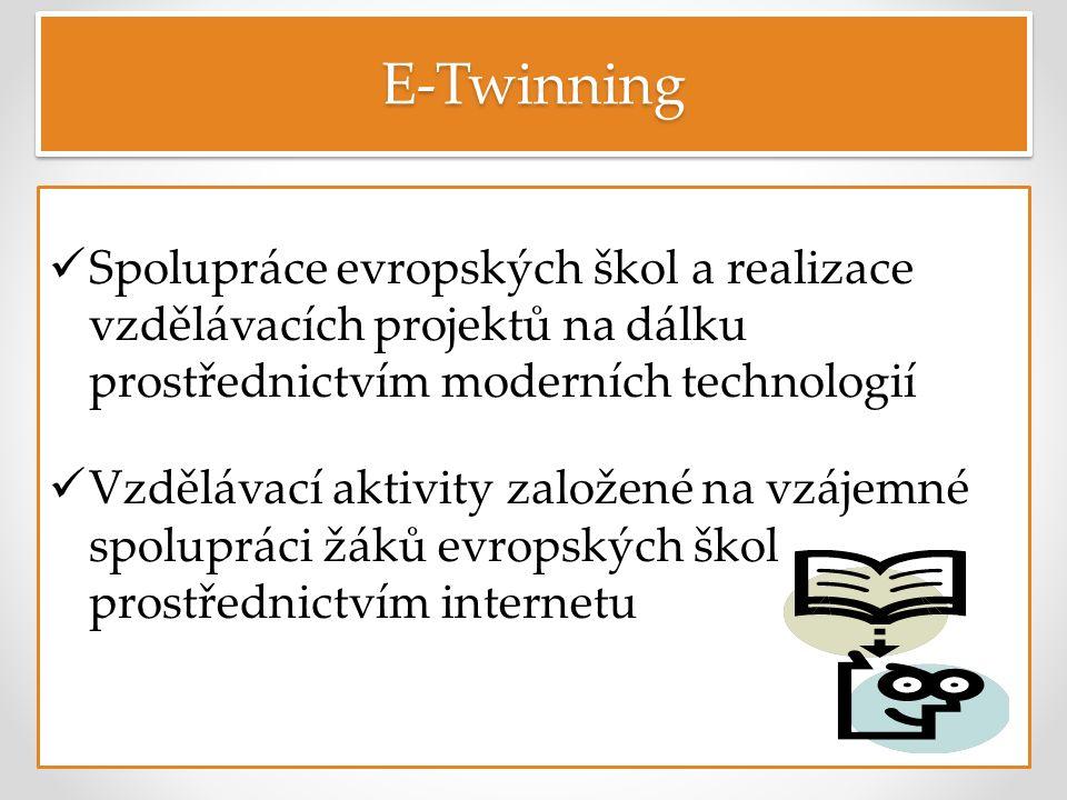 E-TwinningE-Twinning Spolupráce evropských škol a realizace vzdělávacích projektů na dálku prostřednictvím moderních technologií Vzdělávací aktivity založené na vzájemné spolupráci žáků evropských škol prostřednictvím internetu