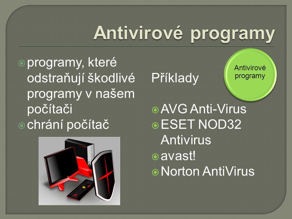  programy, které odstraňují škodlivé programy v našem počítači  chrání počítač Příklady  AVG Anti-Virus  ESET NOD32 Antivirus  avast.