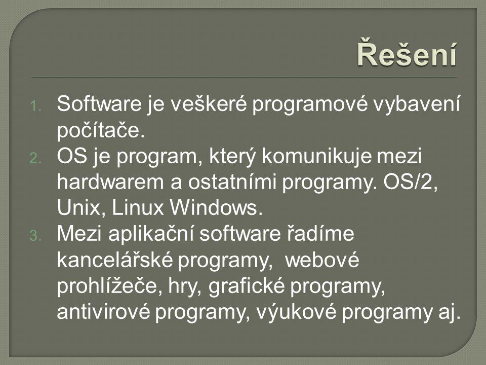 1. Software je veškeré programové vybavení počítače.