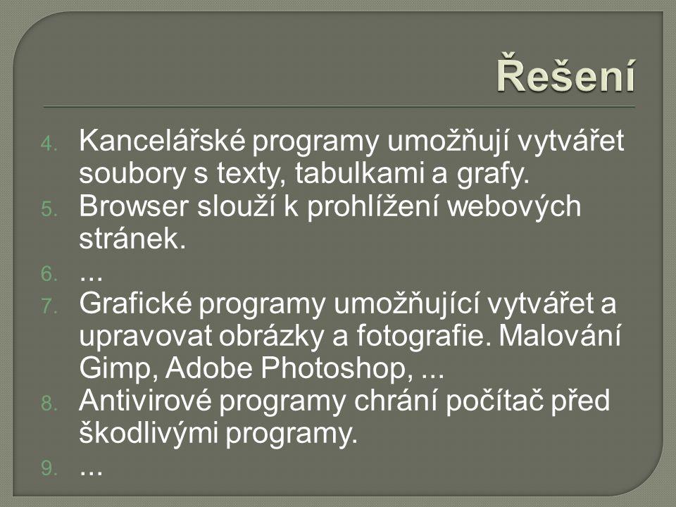 4. Kancelářské programy umožňují vytvářet soubory s texty, tabulkami a grafy.