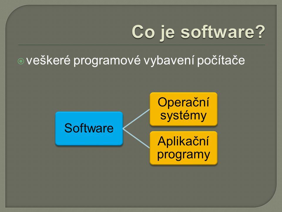  veškeré programové vybavení počítače Software Operační systémy Aplikační programy