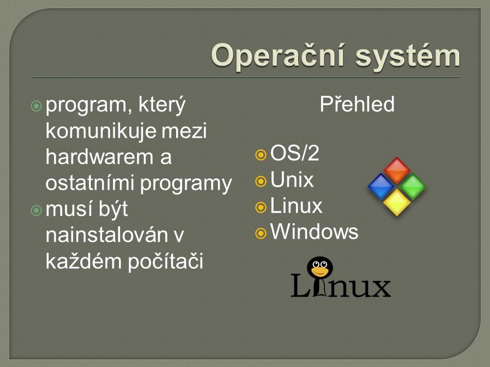  program, který komunikuje mezi hardwarem a ostatními programy  musí být nainstalován v každém počítači Přehled  OS/2  Unix  Linux  Windows