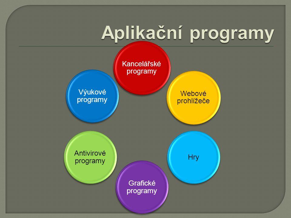 Kancelářské programy Webové prohlížeče Hry Grafické programy Antivirové programy Výukové programy