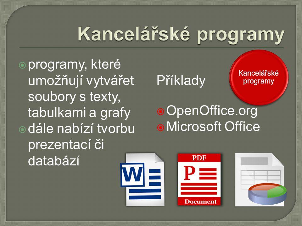  programy, které umožňují vytvářet soubory s texty, tabulkami a grafy  dále nabízí tvorbu prezentací či databází Příklady  OpenOffice.org  Microsoft Office Kancelářské programy