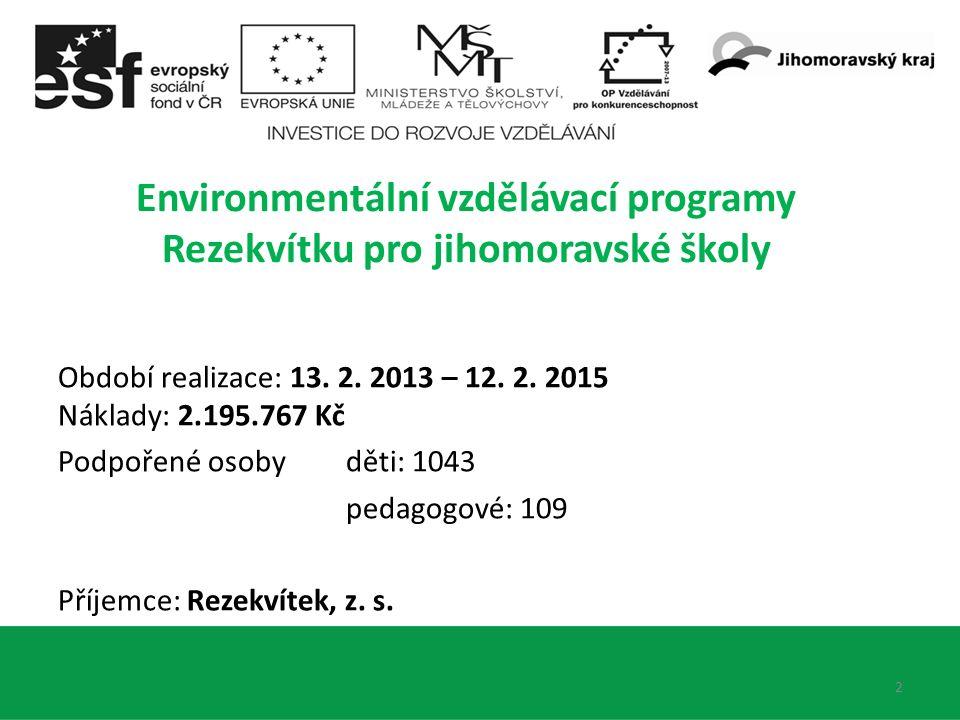 2 Environmentální vzdělávací programy Rezekvítku pro jihomoravské školy Období realizace: 13. 2. 2013 – 12. 2. 2015 Náklady: 2.195.767 Kč Podpořené os