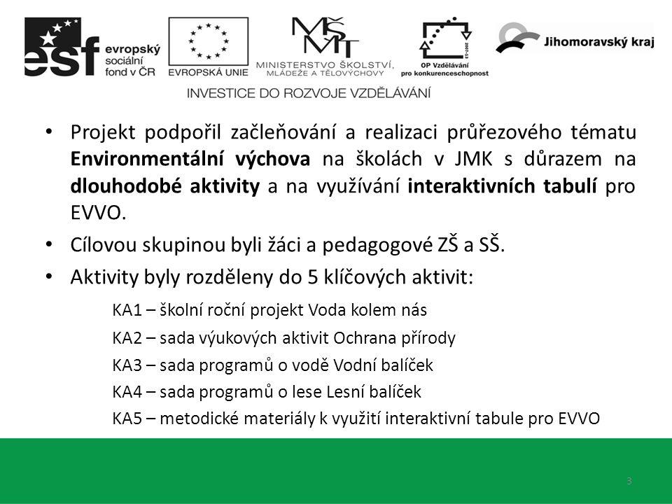 3 Projekt podpořil začleňování a realizaci průřezového tématu Environmentální výchova na školách v JMK s důrazem na dlouhodobé aktivity a na využívání interaktivních tabulí pro EVVO.