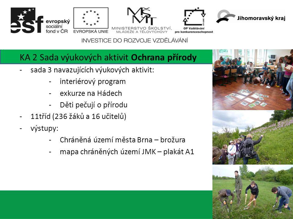 6 KA 2 Sada výukových aktivit Ochrana přírody -sada 3 navazujících výukových aktivit: -interiérový program -exkurze na Hádech -Děti pečují o přírodu -11tříd (236 žáků a 16 učitelů) -výstupy: -Chráněná území města Brna – brožura -mapa chráněných území JMK – plakát A1