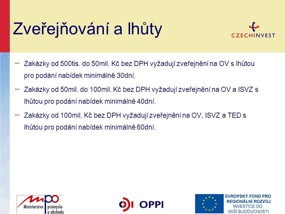 Zveřejňování a lhůty ╌ Zakázky od 500tis. do 50mil.