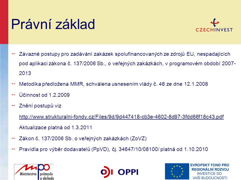 Právní základ ╌ Závazné postupy pro zadávání zakázek spolufinancovaných ze zdrojů EU, nespadajících pod aplikaci zákona č.