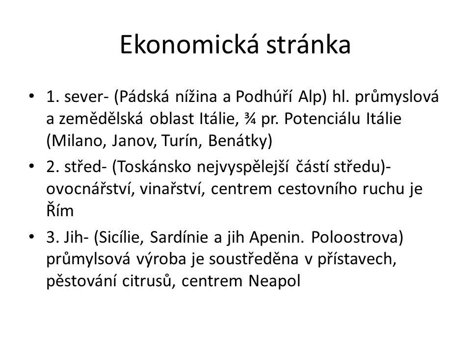 Ekonomická stránka 1. sever- (Pádská nížina a Podhúří Alp) hl.