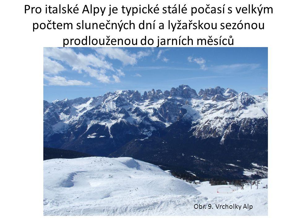 Pro italské Alpy je typické stálé počasí s velkým počtem slunečných dní a lyžařskou sezónou prodlouženou do jarních měsíců Obr.