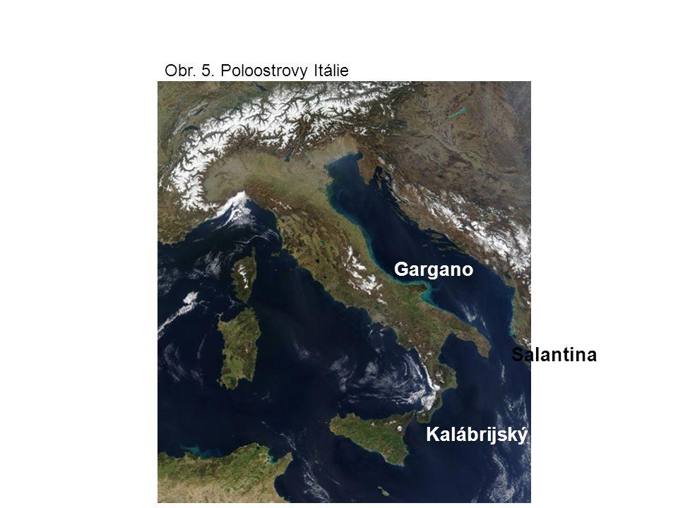 Povrch: Alpy-Dolomity, Karnské, Julské, Bergamské, Grajské, Kotické Vodstvo: Pád, Tibera, ledovcová jezera ( Lago di Garda, Lago Maggiore, Lago di Como A l p y Pádská nížina A p e n i n y Obr.6 povrch a vodstvo
