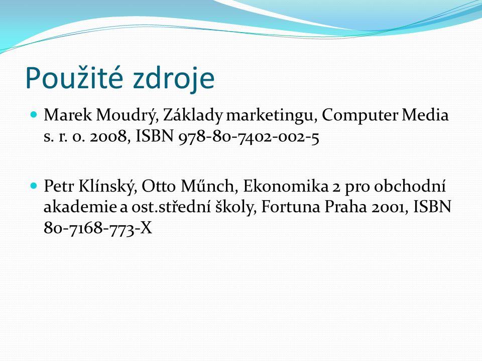 Použité zdroje Marek Moudrý, Základy marketingu, Computer Media s. r. o. 2008, ISBN 978-80-7402-002-5 Petr Klínský, Otto Műnch, Ekonomika 2 pro obchod