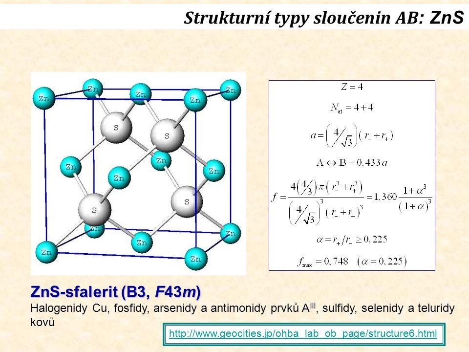 Strukturní typy sloučenin AB : ZnS ZnS-sfalerit (B3, F43m) Halogenidy Cu, fosfidy, arsenidy a antimonidy prvků A III, sulfidy, selenidy a teluridy kov