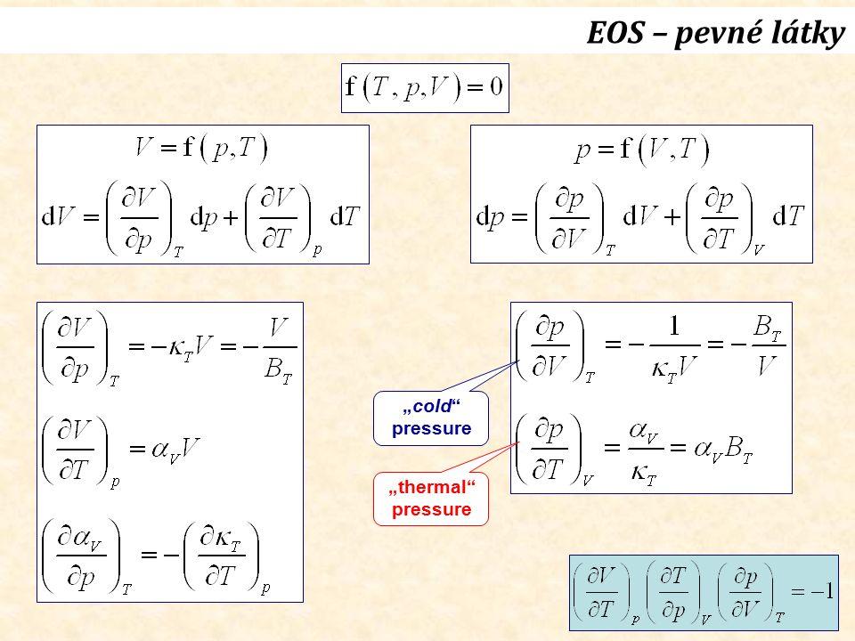 """EOS – pevné látky """"cold"""" pressure """"thermal"""" pressure"""