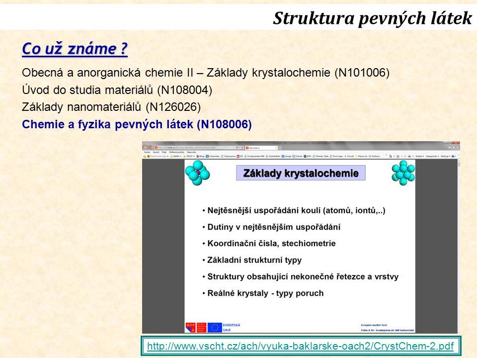 http://www.vscht.cz/ach/vyuka-baklarske-oach2/CrystChem-2.pdf Co už známe ? Obecná a anorganická chemie II – Základy krystalochemie (N101006) Úvod do
