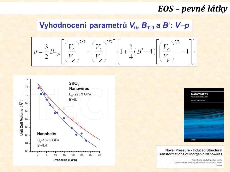 EOS – pevné látky Vyhodnocení parametrů V 0, B T,0 a B: V  p SnO 2