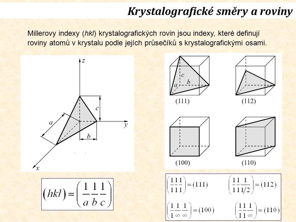 Základní krystalové struktury Vybrané strukturní typy Prvky Sloučeniny AB Sloučeniny AB 2 A1Cu(fcc)B1NaClC1CaF 2 (fluorit) A2W(bcc)B2CsClC2FeS 2 (pyrit) A3Mg(hcp)B3ZnS(sfalerit)C3Cu 2 O(kuprit) A4C(dia)B4ZnS(wurtzit)C4TiO 2 (rutil) A5β-Sn(tet)C5TiO 2 (anatas) A6In(tet) A9C(grafit) Značení struktur (příklady Au, GaAs) Strukturbericht (A1, B3) Pearsonovy symboly (cF4, cF8) Prostorové grupy (Fm3m, F43m) Prototypy (Cu, ZnS(sfalerit))