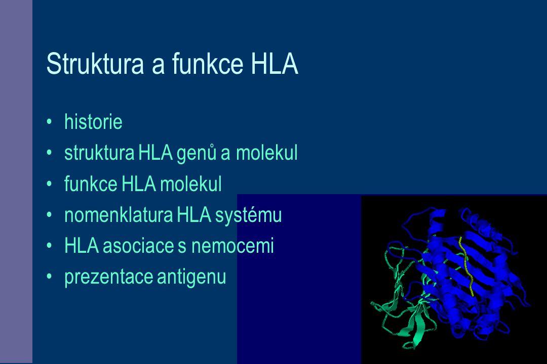 HLA - vývoj imunity HLA jsou membránové glykoproteiny, které představují vrchol organizace fungování imunitního systému ve vývoji imunitního systému se objevují až u obratlovců