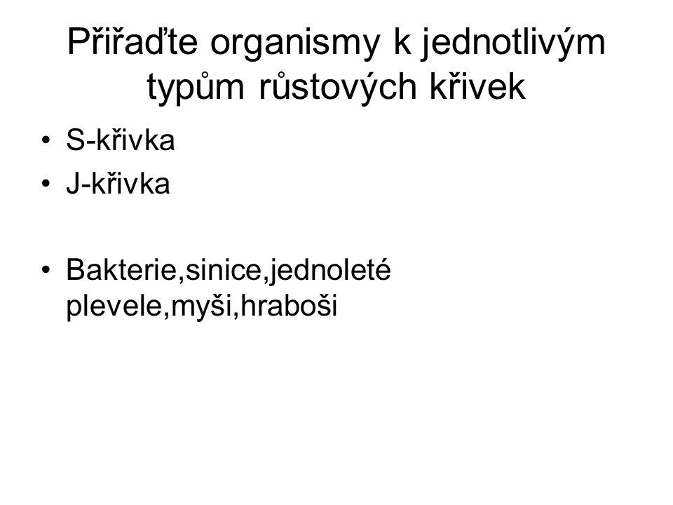 Přiřaďte organismy k jednotlivým typům růstových křivek S-křivka J-křivka Bakterie,sinice,jednoleté plevele,myši,hraboši