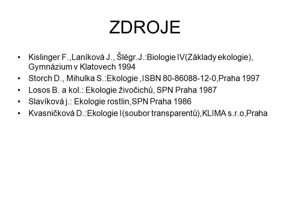 ZDROJE Kislinger F.,Laníková J., Šlégr.J.:Biologie IV(Základy ekologie), Gymnázium v Klatovech 1994 Storch D., Mihulka S.:Ekologie,ISBN 80-86088-12-0,