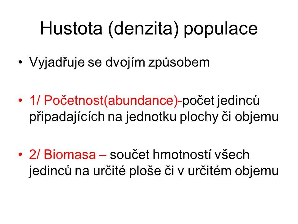 Hustota (denzita) populace Vyjadřuje se dvojím způsobem 1/ Početnost(abundance)-počet jedinců připadajících na jednotku plochy či objemu 2/ Biomasa –
