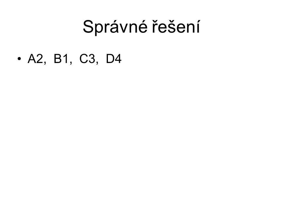 Správné řešení A2, B1, C3, D4