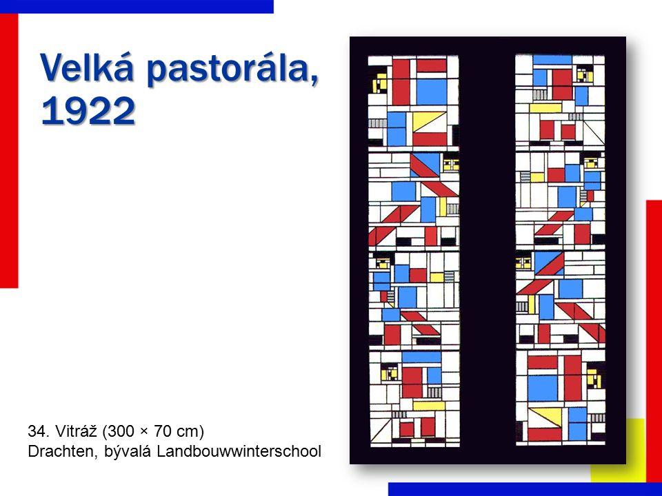 Velká pastorála, 1922 34. Vitráž (300 × 70 cm) Drachten, bývalá Landbouwwinterschool