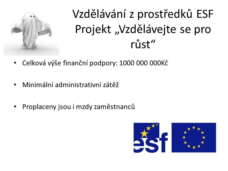 """Vzdělávání z prostředků ESF Projekt """"Vzdělávejte se pro růst Celková výše finanční podpory: 1000 000 000Kč Minimální administrativní zátěž Proplaceny jsou i mzdy zaměstnanců"""