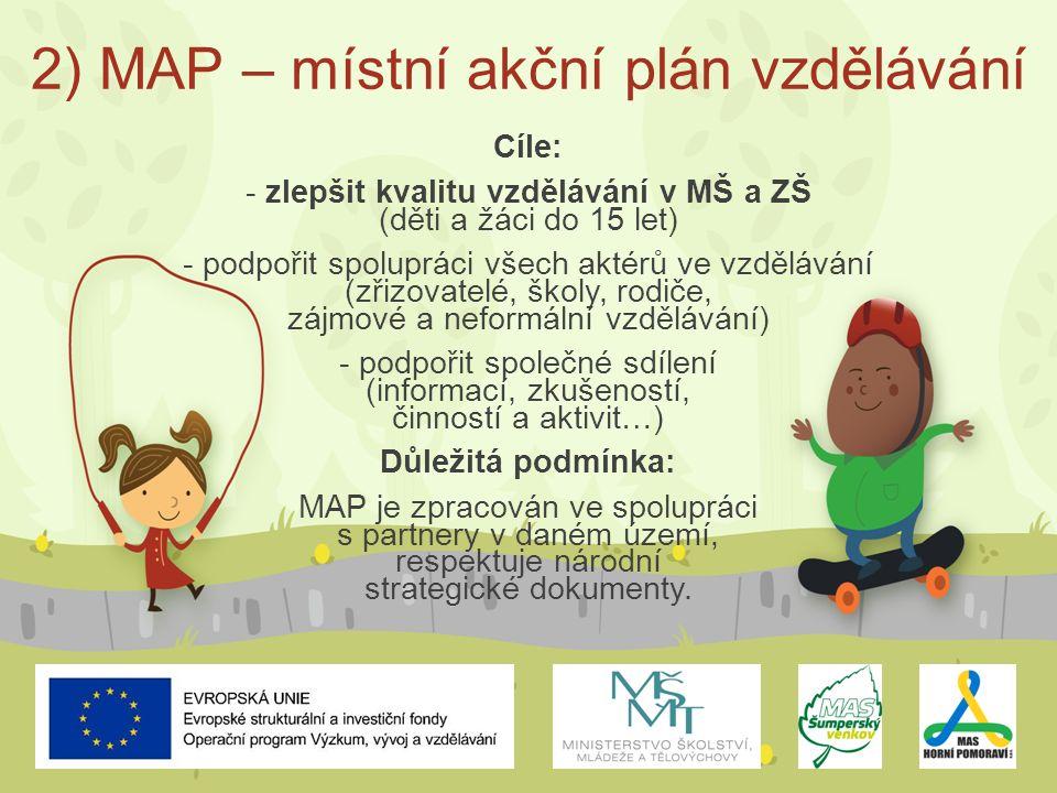 2) MAP – místní akční plán vzdělávání Cíle: - zlepšit kvalitu vzdělávání v MŠ a ZŠ (děti a žáci do 15 let) - podpořit spolupráci všech aktérů ve vzdělávání (zřizovatelé, školy, rodiče, zájmové a neformální vzdělávání) - podpořit společné sdílení (informací, zkušeností, činností a aktivit…) Důležitá podmínka: MAP je zpracován ve spolupráci s partnery v daném území, respektuje národní strategické dokumenty.