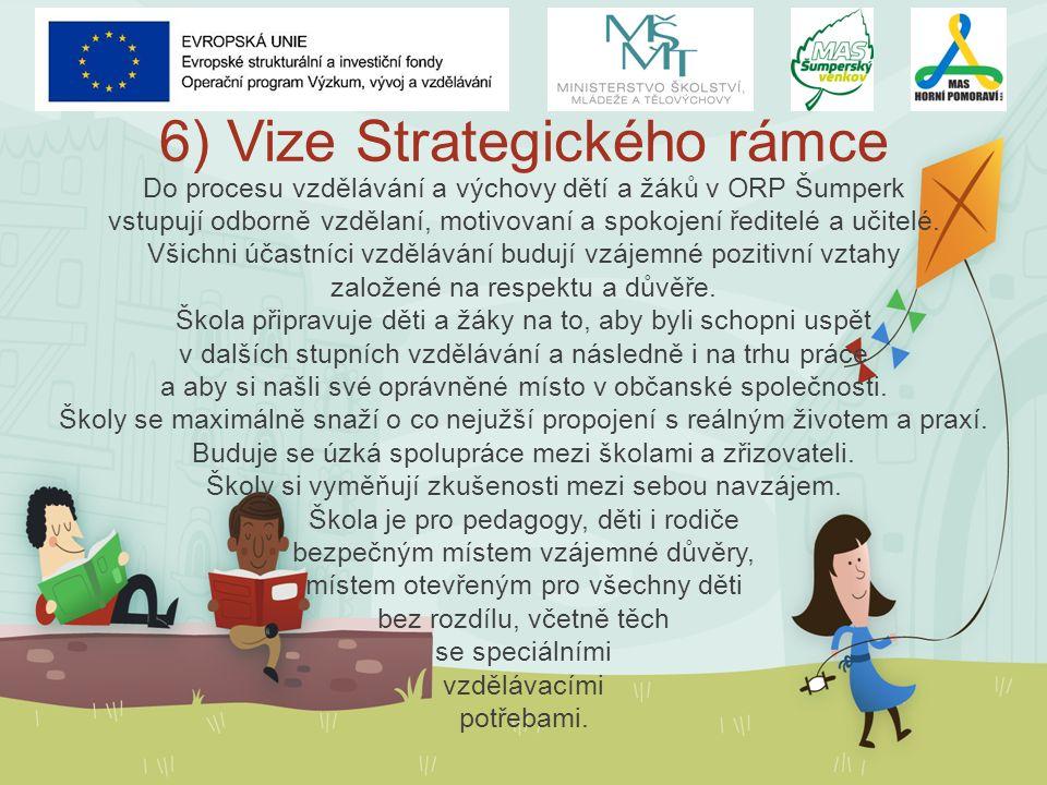 6) Vize Strategického rámce Do procesu vzdělávání a výchovy dětí a žáků v ORP Šumperk vstupují odborně vzdělaní, motivovaní a spokojení ředitelé a učitelé.