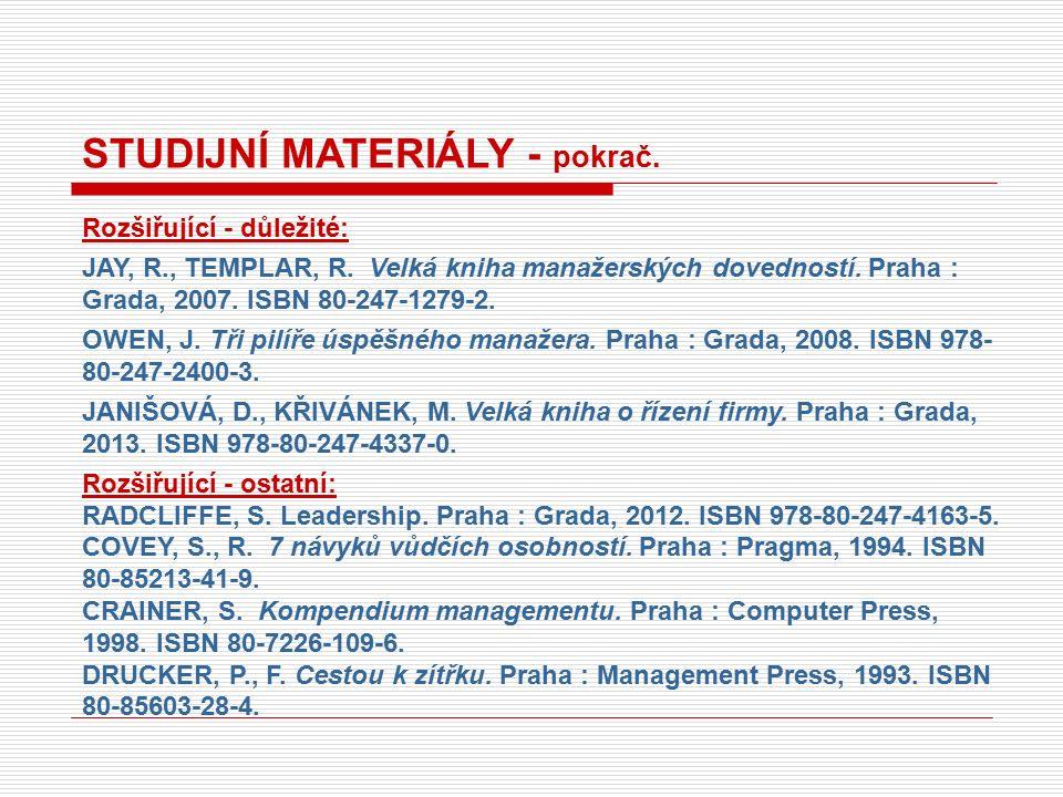 STUDIJNÍ MATERIÁLY - pokrač. Rozšiřující - důležité: JAY, R., TEMPLAR, R.