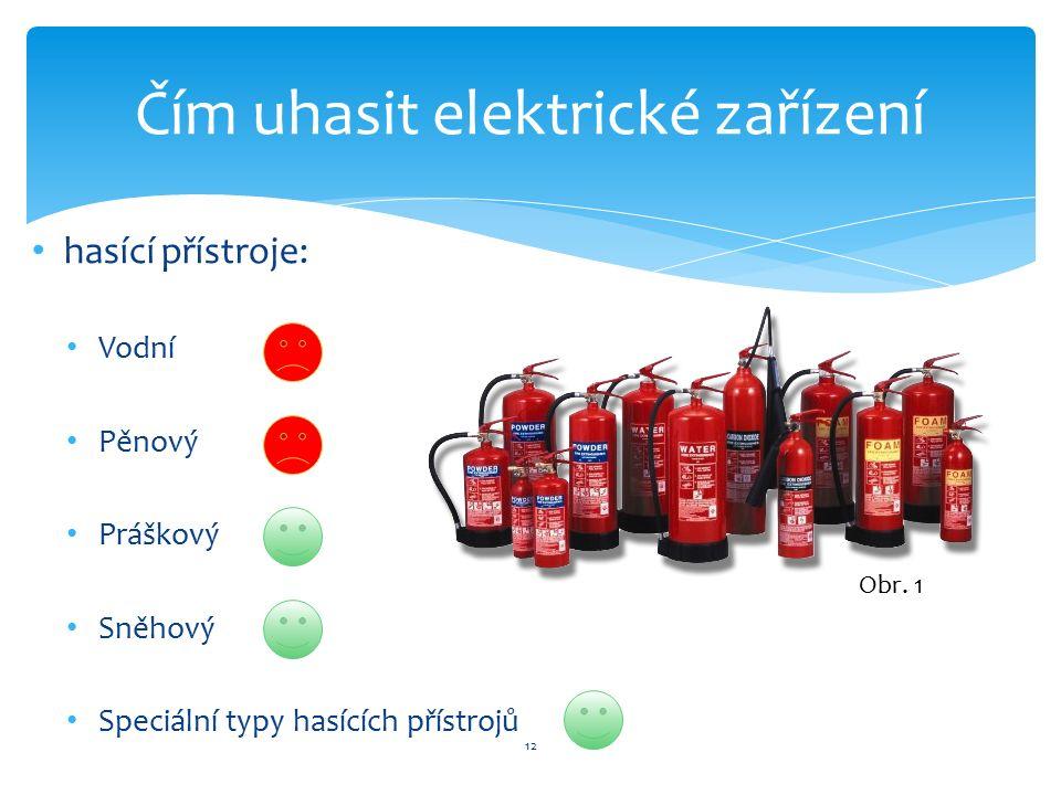 12 Čím uhasit elektrické zařízení hasící přístroje: Vodní Pěnový Práškový Sněhový Speciální typy hasících přístrojů Obr. 1