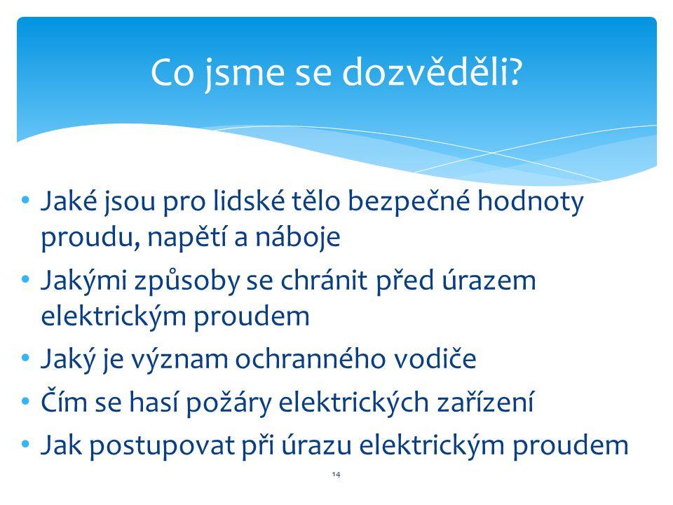 Jaké jsou pro lidské tělo bezpečné hodnoty proudu, napětí a náboje Jakými způsoby se chránit před úrazem elektrickým proudem Jaký je význam ochranného vodiče Čím se hasí požáry elektrických zařízení Jak postupovat při úrazu elektrickým proudem 14 Co jsme se dozvěděli