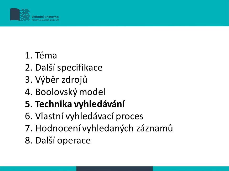 1. Téma 2. Další specifikace 3. Výběr zdrojů 4. Boolovský model 5. Technika vyhledávání 6. Vlastní vyhledávací proces 7. Hodnocení vyhledaných záznamů