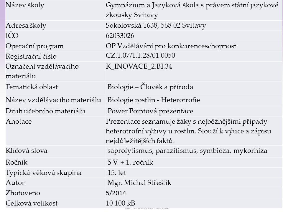 Gymnázium a Jazyková škola s právem státní jazykové zkoušky Svitavy Heterotrofní výživa u rostlin 1