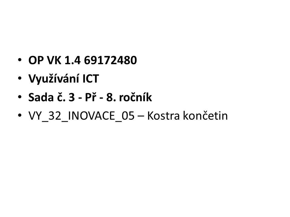 OP VK 1.4 69172480 Využívání ICT Sada č. 3 - Př - 8. ročník VY_32_INOVACE_05 – Kostra končetin