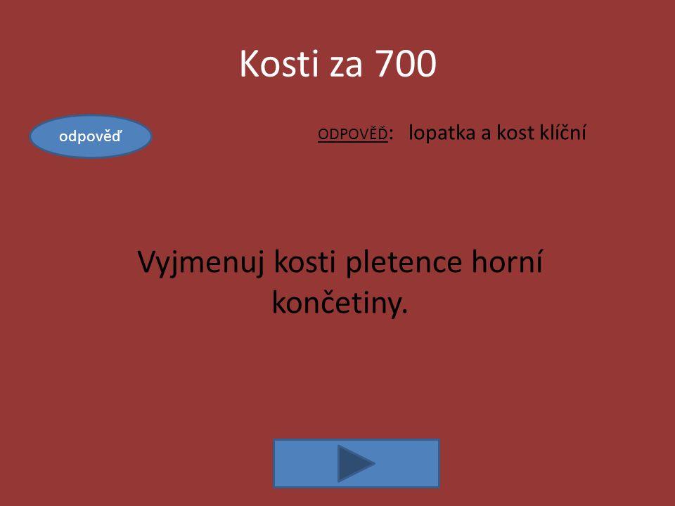 Kosti za 700 ODPOVĚĎ : lopatka a kost klíční Vyjmenuj kosti pletence horní končetiny. odpověď