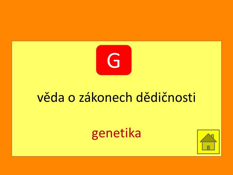 věda o zákonech dědičnosti genetika G
