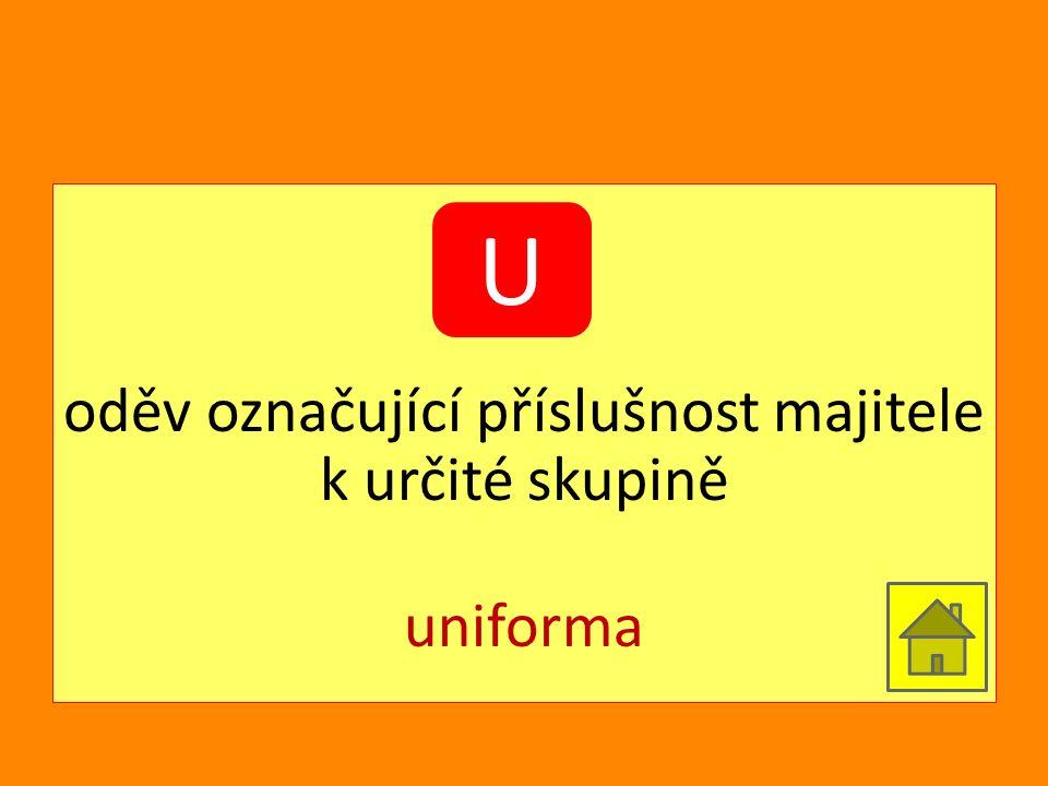 oděv označující příslušnost majitele k určité skupině uniforma U